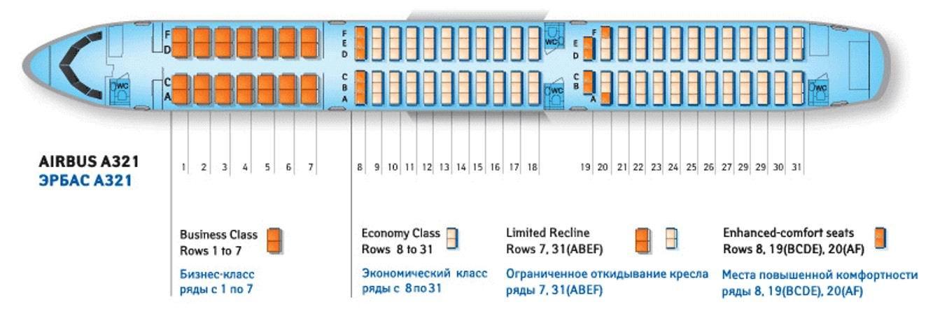 Airbus a321 схема салона ямал